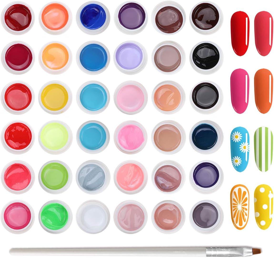 Skymore Esmalte Semipermanentes, 36 Colores de Esmalte de Uñas Semipermanente, Set de Uñas de Esmalte en UV Poli Gel Pegamento Sólido