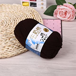 Haihuic 50g Soft Milk Cotton Yarn Hand-Woven Crochet Knitting Wool Yarn Chunky Warm Yarn for Sweaters Hats Scarves DIY, Brown