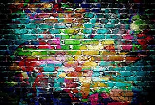 COMOPHOTO 7x5ft Colorful Brick Wall Photography Backdrop for Photo Studio Prop Color Smoke Bombs Portrait Photographic Photo Booth Background Decorations