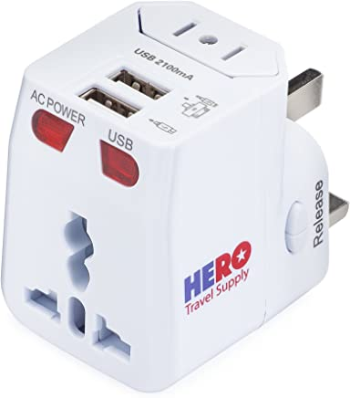 Universal Travel Adapter (2 USB Ports) - Power Plug for US Europe France UK Ireland Thailand China NZ Australia 100+ Countries - Individually Tested in The USA by Hero Travel Supply - White