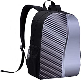Grey Trendy Style Backpack,Cool Background with Square Shaped Grid Speaker Featured Industrial Iron Design Print for Summer Camps,12″L x 5″W x 17″H
