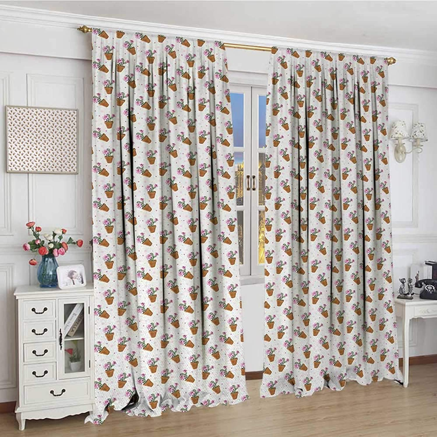 Smallbeefly Succulent Room Darkening Wide Curtains Exotic Cactus Plants with Pink Blossoms and Little Dots in Flower Pots Drapes for Living Room 108 x84  Green Pink Pale Brown