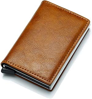 HIKER Leather Wallet with Pop-Up Credit Card Holder & RFID Protection (Tan Brown)