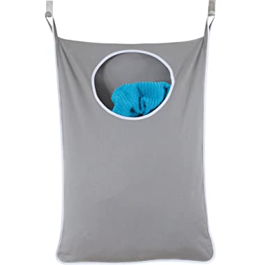 Urban Mom Door Hanging Laundry Hamper with Stainless Steel Hooks (Gray)