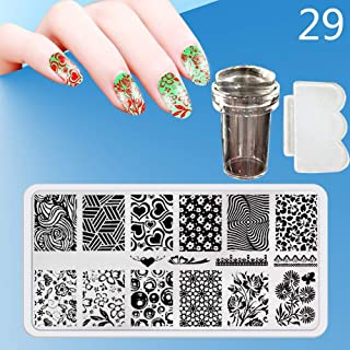 Zmond - New 12X6cm 44 Style Nail Stamping Plates Set Made Stencils Lace Flower DIY Nail Art Templates+Transparent Stamper Stamp Scraper [ 29 ]