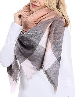 Bess Bridal Women`s Plaid Blanket Winter Scarf Warm Cozy Tartan Wrap Oversized Shawl Cape