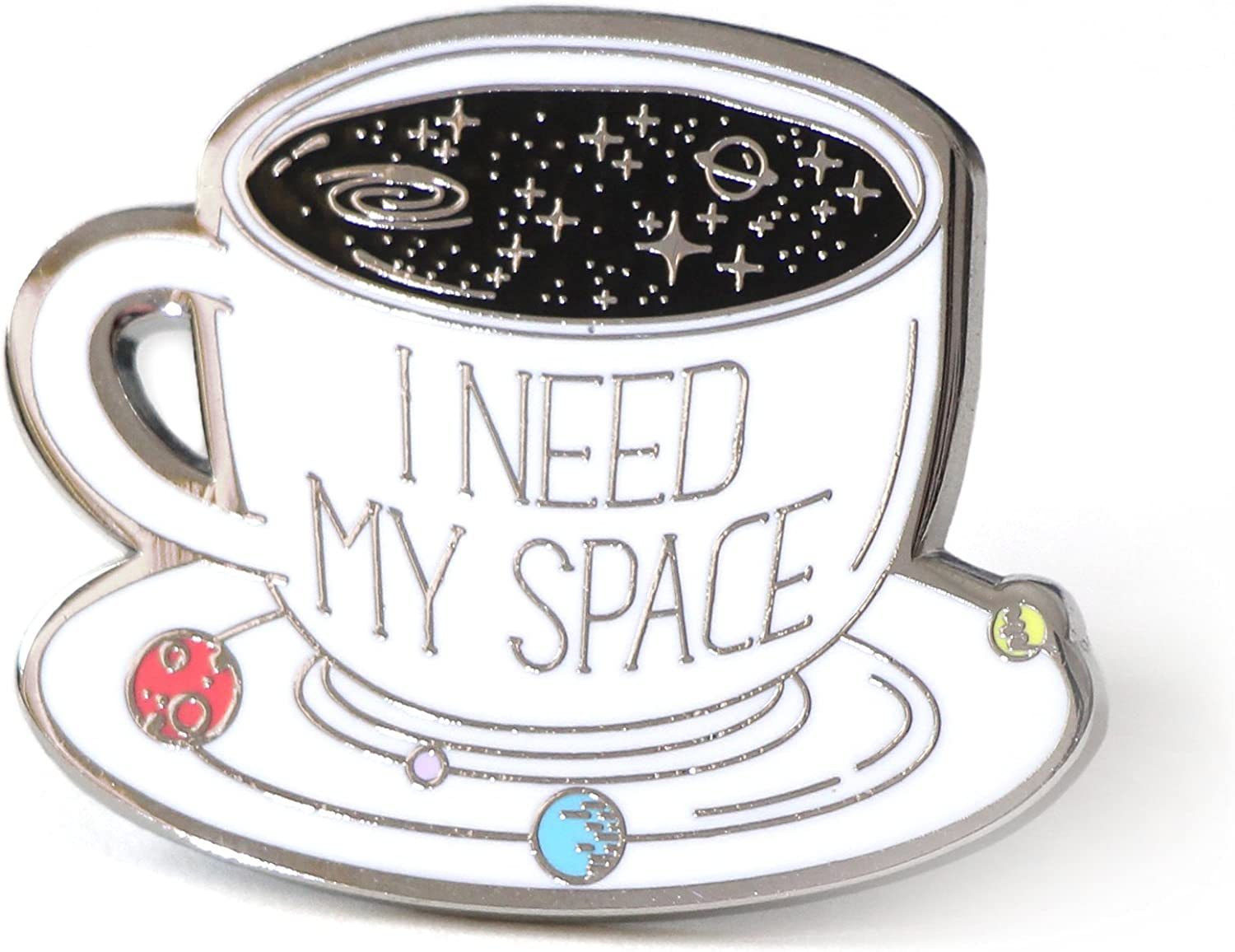 I Need My Space Coffee Enamel Pin Cup With The Solar System Backpack