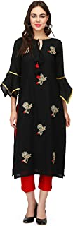 Pret a Porter Black & Red Indian Kurti With Pants