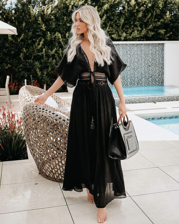 PANAX Damen Strand Chiffon Cardigan Weiß mit Spitze - Sommer Urlaub Poncho Bikini Cover up Stylef 02schwarz