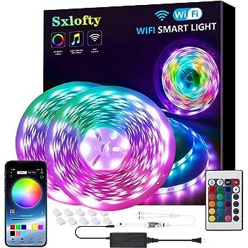 LED Strip Lights, Sxlofty 32.8FT Smart Strip Lights 5050 Tape Light Kit Work with Alexa Google Assistant WiFi Rope Light APP Controlled Smart Light Strip 300LEDs for Home, Bedroom, Kitchen,TV, Party
