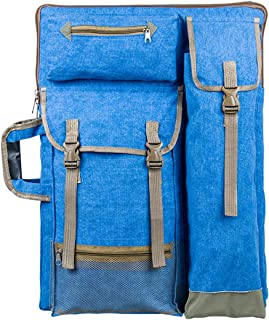 "Transon Art Portfolio Case Artist Backpack Canvas Bag Large 26"" x 19.5"" Blue Color"