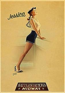 Kemeinuo Art Poster Mural Sexy Lady American Pin up Affiche Rétro Art Affiches Imprimé Mur Décor Maison Mur Photo 60x90cm
