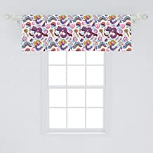 Ambesonne Alice in Wonderland Window Valance, Fantasy World Fairy Tale Concept with Hand-Drawn Caterpillar Cat Rabbit, Curtain Valance for Kitchen Bedroom Decor with Rod Pocket, 54