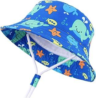 EVAbaby UPF 50+ Wide Brim Baby Girls' Sun Protection Hat with Drawstring Summer Swim Pool Kids Boys' Cap