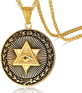 MEALGUET Gold Plated Stainless Steel The All-Seeing-Eye Illuminati Eye of Providence Pyramid Pendant Necklace with 24