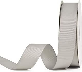 YAMA Solid Grosgrain Ribbon Roll - 1 Inch 25 Yards for Gift Wrapping Ribbons, Silver,