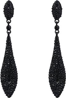 EVER FAITH Women's Austrian Crystal Double Waterdrop Pierced Dangle Earrings