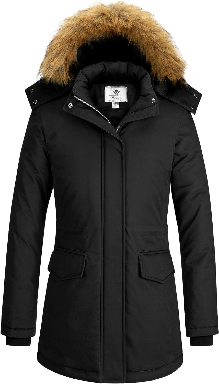 WenVen Women's Winter Waterproof Thicken Parka Jacket Warm Coat with Fur Hood