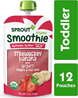 Sprout Organic Toddler Smoothie, Strawberry Banana with Yogurt, 4 Ounce, Pack of 12