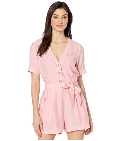 Jonathan Simkhai Piped Luxe V-Neck Romper (Cherry Blossom) Women