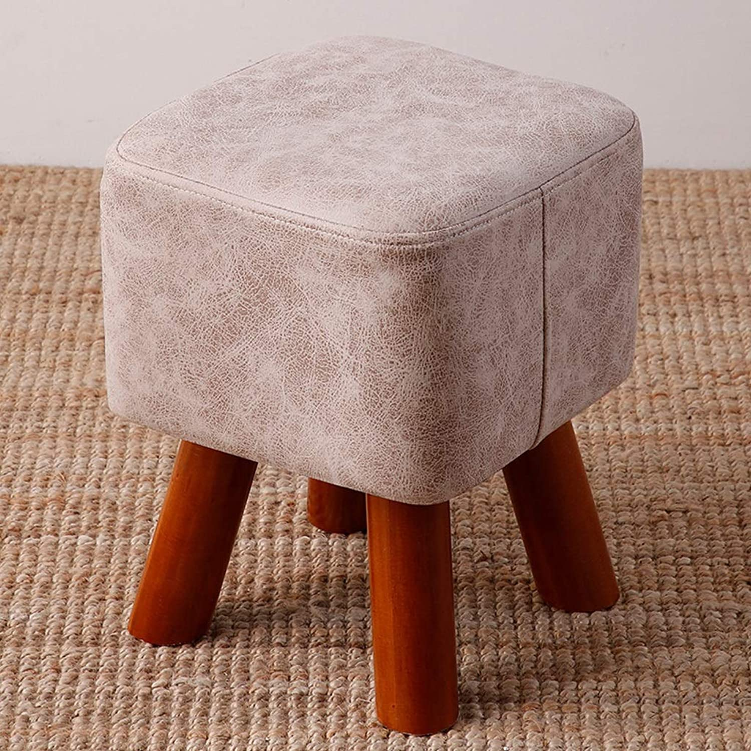 CXQ Modern Creative Stool Home Living Room Fashion Solid Wood Fabric Square Stool Sofa Stool Change shoes Bench White Bench (Size   L)