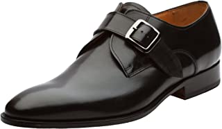 Men's Single Monkstrap Modern Classic Leather Lined Perforated Dress Shoes