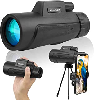 Moocuca Monoculaire telescoop, 12x50 HD waterdichte monoculaire, High Power BAK4 FMC prismatelescoop met smartphonehouder ...