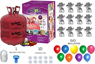 Helium Tank with 50 Balloons and White Ribbon + 12 Silver Balloon Weights + 10 Flower Clips - Plus Balloon Tying Tool