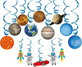 Konsait Solar System Whirls(14Pack), Outer Space Hanging Swirl Home Classroom Decor for Boy Girl Kids Solar System Party Decoration Space Themed Birthday Party Favour Supplies