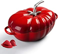 Home Enameled Cast Iron Covered Dutch Oven, Cast Iron Tomato Cocotte for Slow-Cooking Meats and Vegetables, Non-Stick Brea...