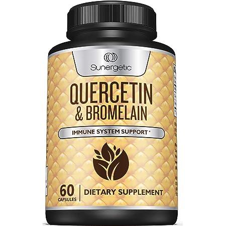 Premium Quercetin & Bromelain Supplement – Powerful Quercetin Bromelain Complex to Help Support Immune System, Cardiovascular Health & Seasonal Support – Quercetin 1000mg Per Serving – 60 Capsules