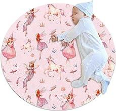 Rosa enhörningsfågel, barn rund matta polyester överkast matta mjuk pedagogisk tvättbar matta barnkammare tipi tält lekmatta