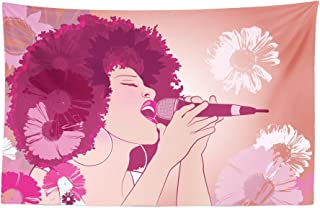 Lunarable Music Tapestry, Afro Woman Singing Jazz Songs on Exotic Floral Background Performance Art, Fabric Wall Hanging Decor for Bedroom Living Room Dorm, 45
