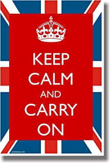 Keep Calm and Carry on with British Flag- NEW Humorous Classroom Poster