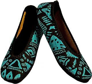 Nufoot Ballet Flat, Blue Aztec, XLarge