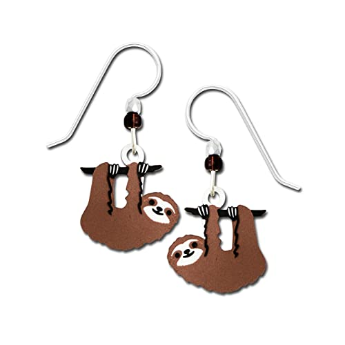 13eb0037a Sienna Sky Hanging Sloth Hand Painted Earrings with Gift Box Made in USA