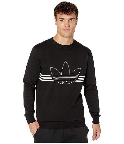adidas Originals Outline Crew Fleece Sweatshirt (Black) Men