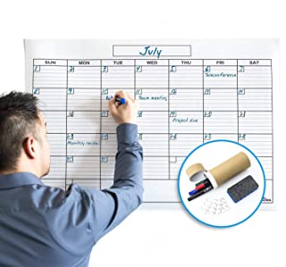 Jumbo Large Dry Erase Wall Monthly Calendar Planner Whiteboard: Wipe Off Erasable Calendar with Bonus Hanging Kit | WallDeca, Use in Classroom, Office, Home, Kitchen! (24 x 36 Inch)