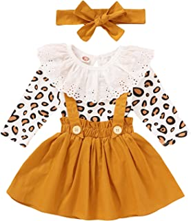 Newborn Baby Girl Skirts Set Leopard Prints Ruffle Long Sleeve Romper + Suspender Dress + Headband Fall Clothes