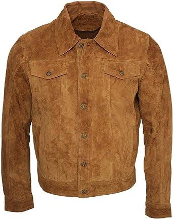 Infinity Camionero de Hombres Bronceado Casuales Jeans Camisa de Cuero Gamuza de Cabra Jacke