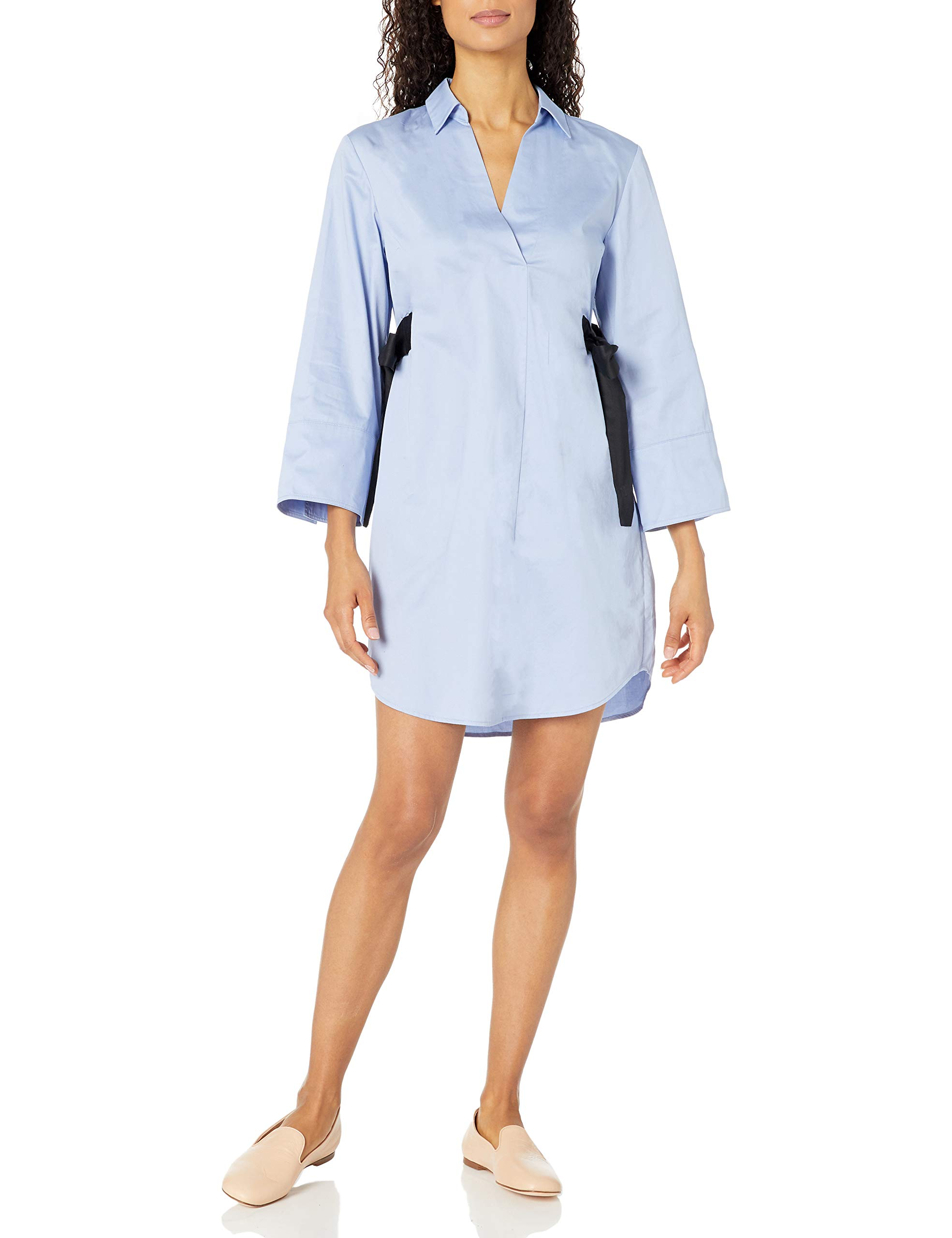 Available at Amazon: Nine West Women's Cotton Shirt Dress with Contrast Ties at Waist
