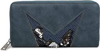 aspect m/étallique antique fermeture /éclair femme 02040091 couleur:Bleu fonc/é // or rose styleBREAKER porte-monnaie avec surface craquel/ée