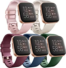 Pack 5 Silicone Bands Compatible with Fitbit Versa 2 / Fitbit Versa/Versa Lite/Versa SE, Classic Soft Replacement Sport Wr...