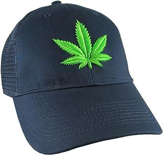 6e8a3cee84963 Cannabis Pot Marijuana Leaf 3D Puff Bud Green Embroidery on an Adjustable  Navy Blue Soft Structured