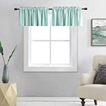 DONREN Room Darkening Aqua Valances for Windows - Rod Pocket Kitchen Blackout Window Treatment Valances (2 Panels,42 by 12...