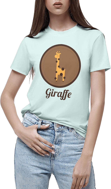 LunchBaggg Hipster Giraffe Glasses Women Popular Moisture Wicking Casual Short Sleeves