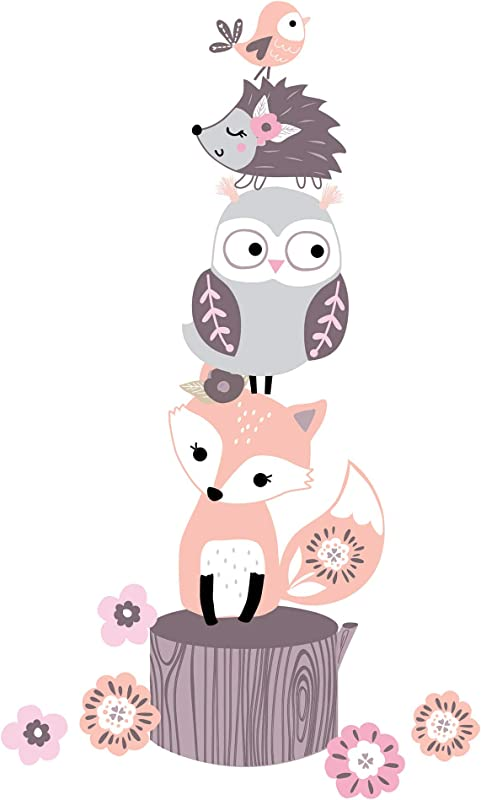 Lambs Ivy Friendship Tree Pink Gray Woodland Animals Wall Decals