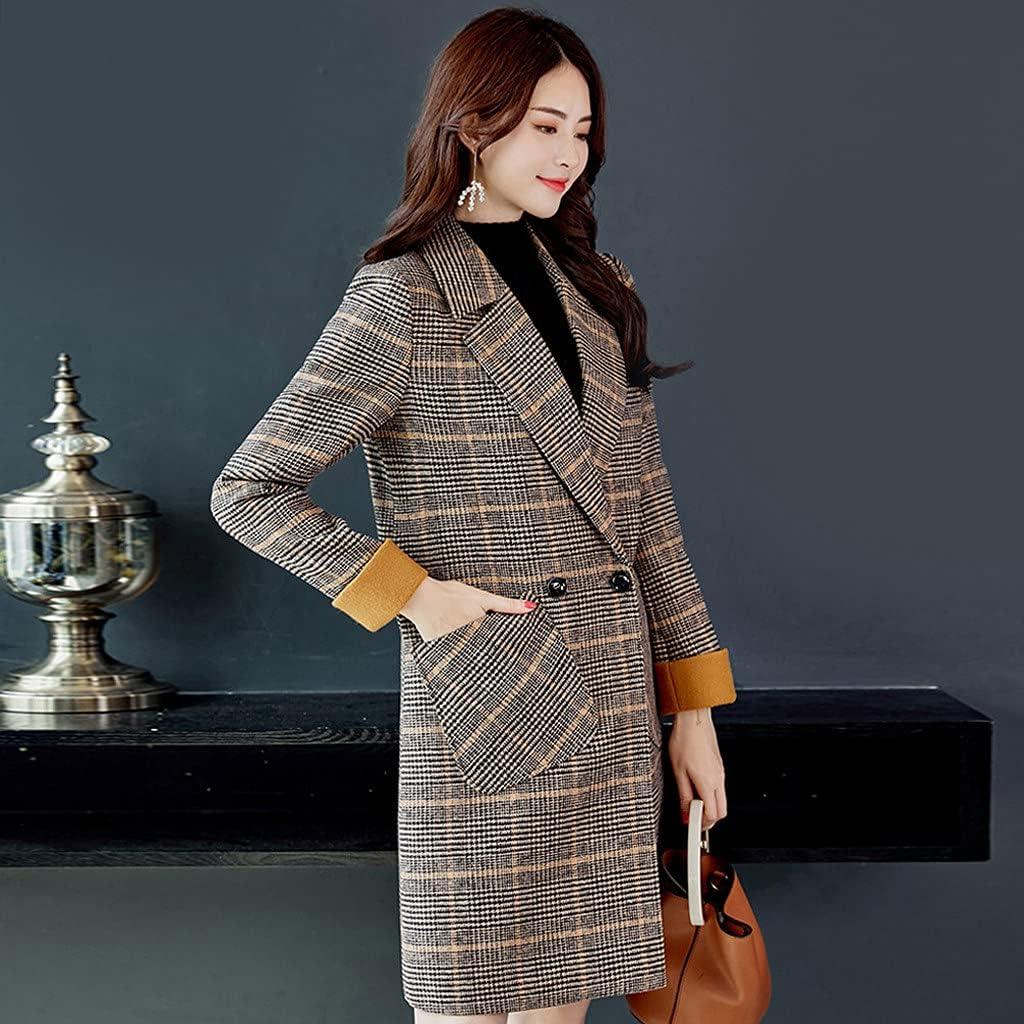 Jackets For Women Fashion Casual Winter Outwear 2021 Warm Overcoat Long Collar Slim Jacket Check Pattern Woolen Coat