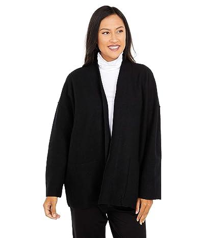 Eileen Fisher Lightweight Boiled Wool High Collar Jacket (Black) Women