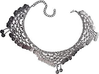 """BookMyCostume Indian Gypsy Banjara Silver Coin Heavy Waist Chain Kamarband """" Fancy Dress Costume Accessory for Girls Free ..."""